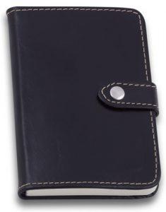 Caderno de Anotações de Couro Preto com Botão