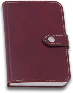 Caderno de Anotações de Couro Vinho com Botão