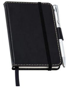 Caderno de Anotações de Couro Preto