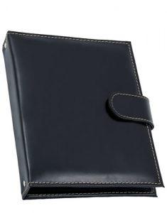 Porta Bloco com Porta Cartões de Couro Preto