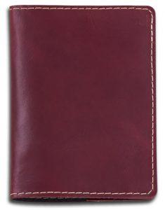 Porta Passaporte em Couro Legítimo Vinho